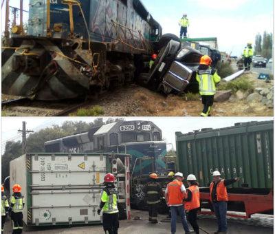 Camión cargado con uva colisionó con tren metalero en cruce El Escorial en Panquehue