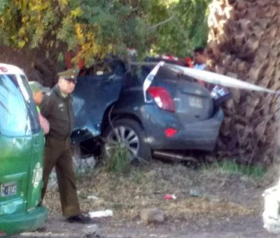 Conocido vecino de Curimón murió al chocar auto con muro en curva La Peña de la CH-60