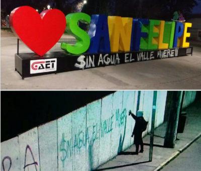 """Por rayar letras corpóreas de San Felipe con leyenda """"Sin Agua el Valle Muere"""" joven es detenido por Carabineros"""