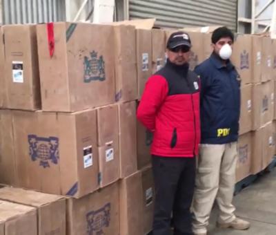 PDI de Los Andes incautó en Catapilco más de un millón de cajetillas de cigarrillos de contrabando